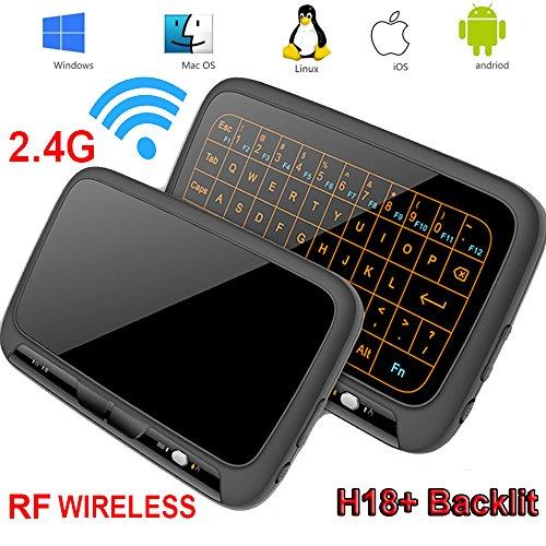 Kabellose Tastatur, Topselerstore H18 + 2.4GHz Full Touchpad Hintergrundbeleuchtung Mini-Tastatur mit großen Touchpad Fernbedienung für Smart TV Android TV Box PC Laptop - Mini Hintergrundbeleuchtung Mit Keyboard Wireless