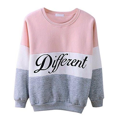 West See Damen Rundhals Hoodie Lässige Druck Mantel Tops Pullover Langarm Sweatshirt (DE 40(Herstellergrößer XXL), Pink) - 2