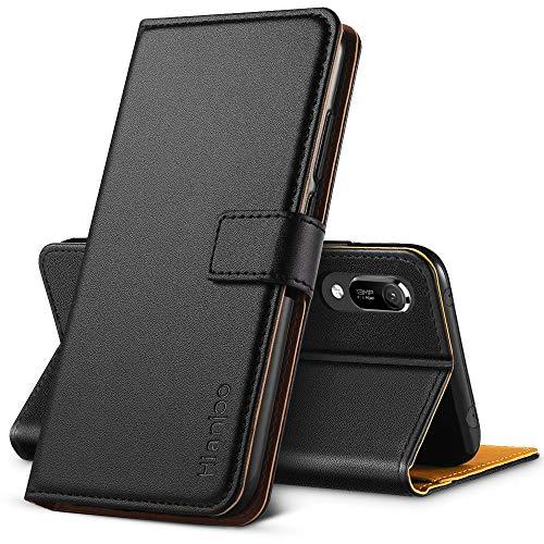 Hianjoo für Huawei Y6 2019 Hülle, Handyhülle Tasche Premium Leder Flip Wallet Case für Huawei Y6 2019 [Standfunktion] [Kartenfächern] [Magnetic Closure Snap], Schwarz Magnetic Wallet Case