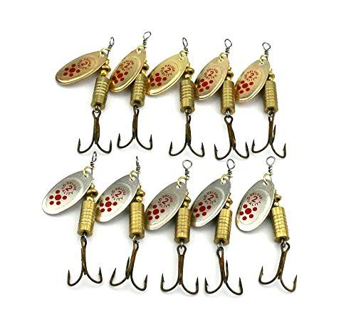 hengjia Lot de 10Leurre Cuillère en métal avec lame 10x 7g rigide Rotatif à la traîne et de moulage de Basse Pike truite Leurre