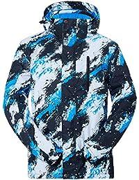 NEWISTAR Chaquetas de Snowboard para Hombres Desmontables con Capucha Bluish White Snowproof a Prueba de Viento…