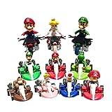 EASTVAPS 10 unids / Set Super Mario Bros Kart Pull Back Car Moto PVC Figura de acción de Juguete