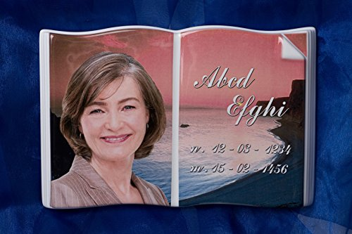 Porzellanbild Buch Grabbuch 30cm x 36cm Grabbild Porzellanfoto Buchformat Bibel Grabstein Porzellanbuch inklusive Beschriftung