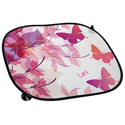 Auto-Sonnenschutz mit Namen Leni und schönem Schmetterling-Motiv für Mädchen - Auto-Blendschutz - Sonnenblende - Sichtschutz