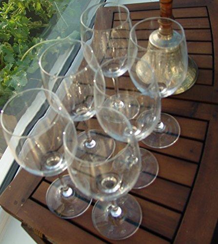 6Dinstinctive rojo o copas de vino blanco, Tall Blanco y rojo crista