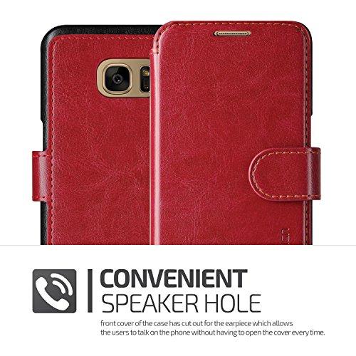 Étui iPhone 7, VRS Dandy Layered Housse Téléphone [avec Fente pour Cartes] Coque Apple iPhone 7 Case Marron Foncé - Marron Smartphone Vin Rouge / Noir