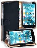 moex Booklet mit Flip Funktion [360 Grad Voll-Schutz] für Huawei G610 | Geldfach & Kartenfach + Stand-Funktion & Magnet-Verschluss, Schwarz