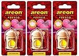 AREON Fresco Désodorisant Voiture Liquide Bubble Gum Bouteille en Bois Flacon Rétroviseur Pendu 4ml (Lot de 3)