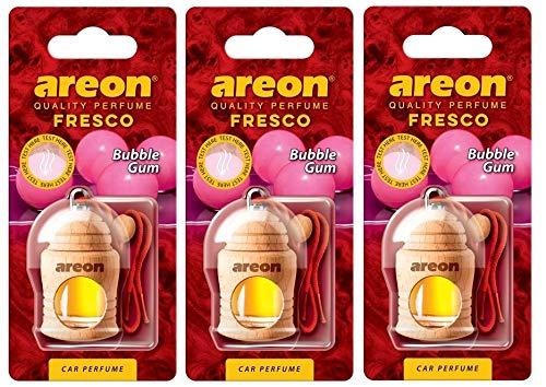 Areon Fresco Deodorante Profumo Auto Bubblegum Dolce Legno Bottiglie Da Appendere Specchietto Liquido Pendente Vetro Boccetta Originali Rosso Legami 4ml 3D Casa ( Bubble Gum Set x 3 )