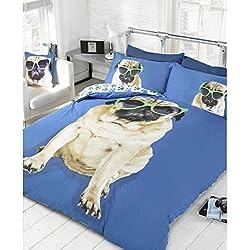 Perro Pug 2Azul De Cama Funda De Edredón Y De Almohada Juego de cama Ropa de cama de perros