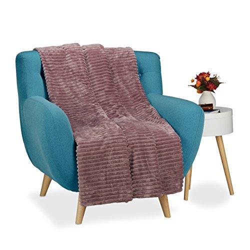 Relaxdays 10021100_532 grande plaid, morbida trapunta 150x200 calda coperta, soffice pile copridivano, tinta unita, rosa antico