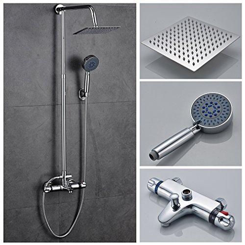 AuraLum® Thermostat Duschset Duschsystem Duscharmatur Überkopfbrause Regendusche mit wasserhahn,Handbrause Regenbrause und 1,5m Schlauch -Typ1