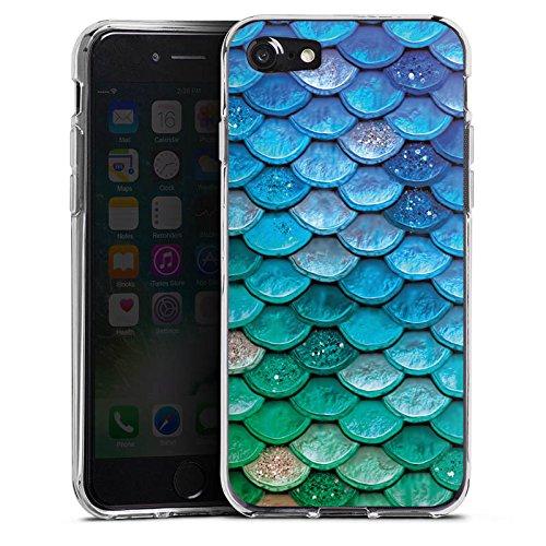 Apple iPhone 5s Hülle Case Handyhülle Schuppen Meerjungfrau Mermaid Silikon Case transparent