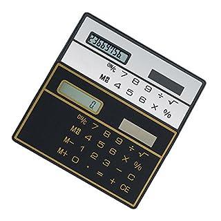Alxcio 8 Digits Basic Calculator, 2 pcs Ultra Thin Mini Size Solar Powered Credit Card Design Pocket Calculator, Black*1 + White*1