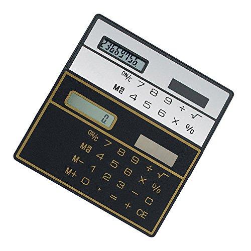 Alxcio 8-stelliges Standard-Taschenrechner, 2 Stück Ultra Dünn Mini Größe Solarbetriebene Kreditkarte Design Rechner, Schwarz*1 + Weiß*1
