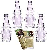 gouveo 8 x Glasflaschen Weihnachtsmann 200 ml Incl. Schraubverschluss und 28-seitige Flaschendiscount-Rezeptbroschüre Zum Selbst Abfüllen Leere Likörflasche Schnapsflasche Weihnachten
