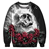 OSYARD Sweatshirt Femme Hiver, Sweat-Shirt Femme Homme Pull à Manches Long Chemisier Tops Blouse Couple Rose Skull 3D Print...