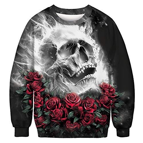 LHWY Winterjacke Herren Hoodie Männer Frauen Sweatshirt Pullover O Neck Top Bluse Skelett 3D Print Langarm Winter Kleidung Halloween Kostüm (M, Schwarz)