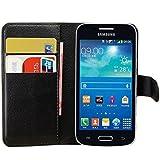 Tasche für Samsung Galaxy Core Plus (4.3zoll) Hülle, Ycloud PU Ledertasche Flip Cover Wallet Case Handyhülle mit Stand Function Credit Card Slots Bookstyle Purse Design schwarz
