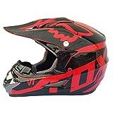 Dabobo Casco moto integrale Casco moto adulto Unisex Mountain Bike Dirt Bike Helmets Nero Rosso,L