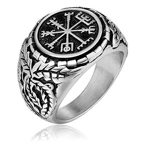 KnSam Schmuck Herren Ring Edelstahl Fingerring Bandring Punk Verlobungsringe Geschenk für Männer Junge Silber Größe 54 (17.2)