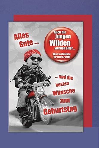 Männer Button Karte Geburtstag Die Jungen Wilden Motorrad 16x11cm