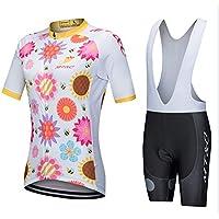 GWJ Camiseta De Ciclismo De Manga Corta para Mujer/Bikini Y Pantalones Cortos Acolchados En 3D,XL