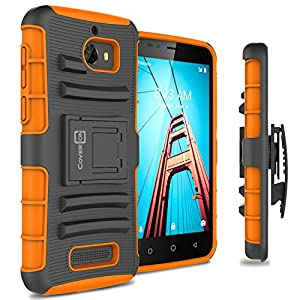 Fly USA Coolpad Defiant Case, CoverON [Explorer Series] Holster Hybrid Armor Belt Clip Hard Phone Cover For Coolpad Defiant Holster Case - Orange