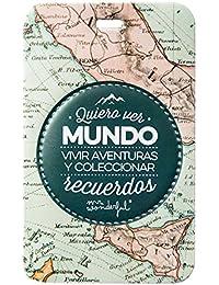 Mr.Wonderful WOA02947 Etiqueta para Equipaje Quiero Ver Mundo, Multicolor