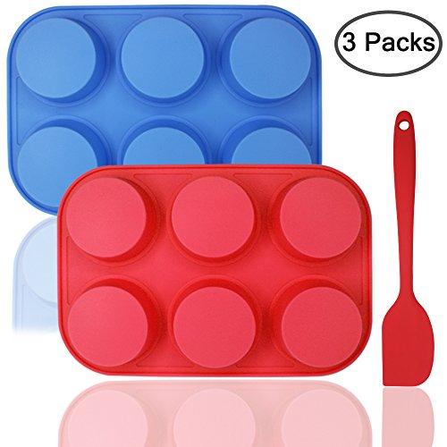6Silikon Muffin Form Bonus mit Spatel, dakuan 3PCS PACK O fmuffin Form und Spatel Set, Antihaft-Backform, flexibel, Cupcake Pfannen, Geschirrspüler, Backofen, Mikrowelle Safe. Blau + Rot (Pan 6-cup Muffin)