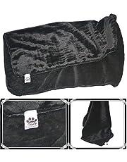 Comfy German Mink Fabric Soft Pet Blanket (Black, Large, 38x42 Inches)