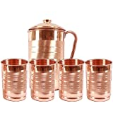 JOCO PRIME Copper Jug Pitcher with 4 Glass Tumbler, Serveware & Drinkware, Ayurveda (JOCO-14G4) - Set of 5