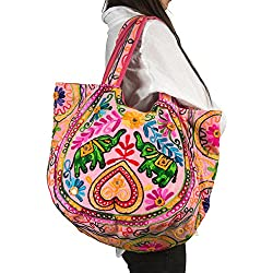 Tribe Azure Fair Trade Bolsos de hombro de algodón para mujer Talla única Rosado