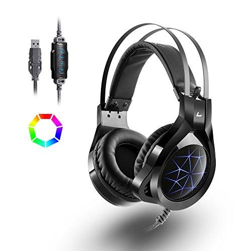 Cuffie da Gioco Gaming Headset LED Luce USB Canale Stereo Bass con Cavo Stealth Mic Regolabile per Xbox One PS4 PC Gaming Portatili Mac Tablet Surround 7.1 MADGIGA - Nero