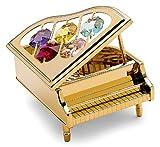 Piano à queue Miniature - Couleur dorée - Crystocraft Perles de Swarovski® - Cadeau musique