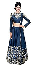 Jay Varudi Creation Women's Silk Lehenga Choli (Prachi Blue 01_Blue)