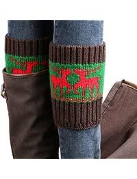 Vococal-Botas Calcetines de Crochet / Calentadores de Punto para mujeres damas invierno,Color