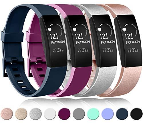 Amzpas Compatible pour Fitbit Inspire Bracelet & Fitbit Inspire HR Bracelet, Classique Bracelet Bande de Remplacement Compatible pour Fitbit Inspire HR (0004 Or Rose+Argent+Bleu Marin+Pourpre, L)
