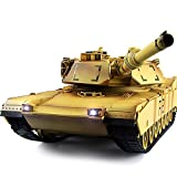 Kikioo Simulazione Radio Remote Fightint Main Battle Tank Crawlers Chariot 2.4G Russia T90 tiro/Fumo Sound PRO Metal Tracks Ruota Cambio Genitore-Bambino Gioco Giocattolo per Bambini Giallo Deserto