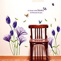 Hrph DIY Purple Lily Flower Posters Living Room Decorative Wall Stickers Removable Waterproof Home Decor