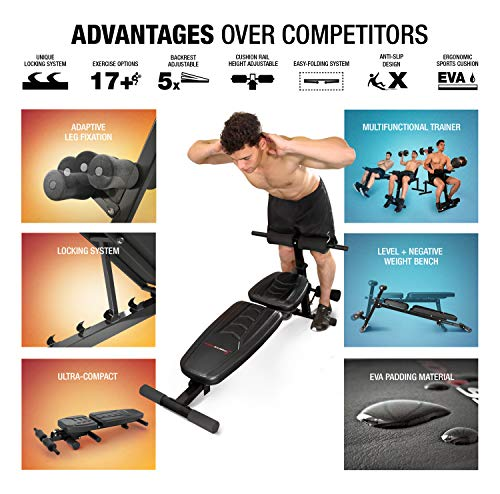 Sportstech-BRT500-Innovative-Weight-Bench-with-Unique-Design-Ergonomic-EVA-Padding-Material-Intelligent-Folding-System-Anti-slip-Folding-Fitness-Bench