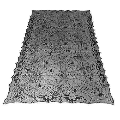 YYANG Klassisches Design Spitze schwarz spinne mi Party dekorative tischdecke für Halloween schwarz (Spider Web-einsätzen)