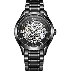 BOS Men's Automatic self-wind mechanical Waterproof Skeleton Watch Black Dial Stainless Steel Band 9008