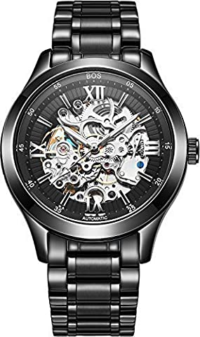 BOS Men's Automatic Self-Wind Mechanical Waterproof Skeleton Watch Black Dial Stainless Steel Band 9008 (Stainless steel band)