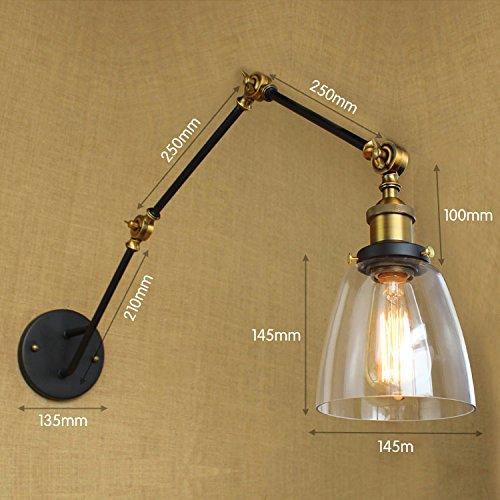 YJNB Antique Loft Industriale Retrò Lampada Da Parete Vintage Con Oscillazione Regolabile Lungo Braccio Luci Da Parete A Parete Di Edison Applique Lampe