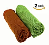 ZZLAY 2-Pack Sport Cooling Towel 40x12 Sweat-Proof Cooling Towels for Yoga,Camping,Cycling,Gym,Travel,Pilates