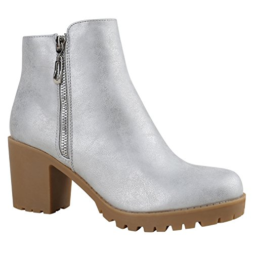 Damen Stiefeletten Chelsea Boots Profilsohle Blockabsatz Silber Zipper