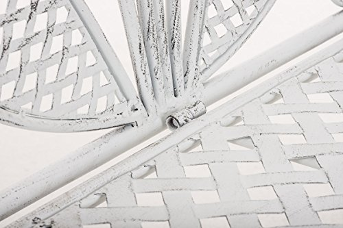 CLP Metall-Gartenbank TJURE im Landhausstil, Eisen lackiert, ca. 140 x 60 cm Antik Weiß - 7