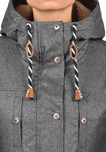 Blend SHE Dale Damen Winter Jacke Parka Mantel Winterjacke gefüttert mit Teddyfutter und Kapuze, Größe:XS, Farbe:Black Melange (200049) - 5