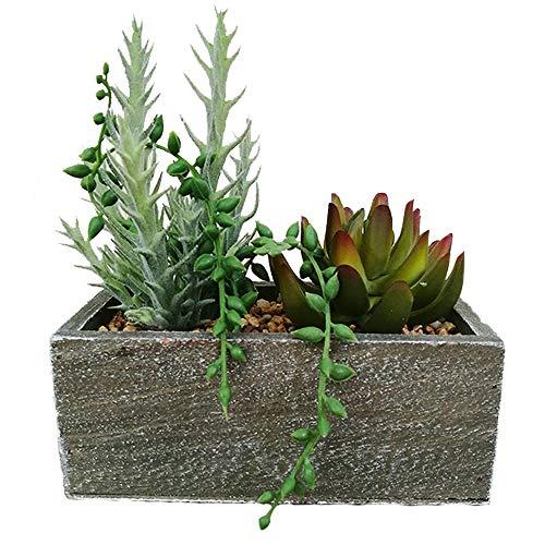 Aisamco piante grasse finte filo di perle piante succulente artificiali miste piante in legno disposizione fioriera in legno vasi quadrati in legno rustici